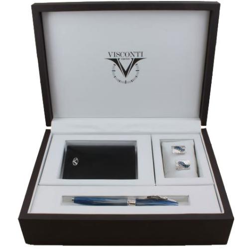 VS-004-665-18 Подарочный набор Visconti Salvador Dali Blue (ручка-роллер, запонки, бумажник)