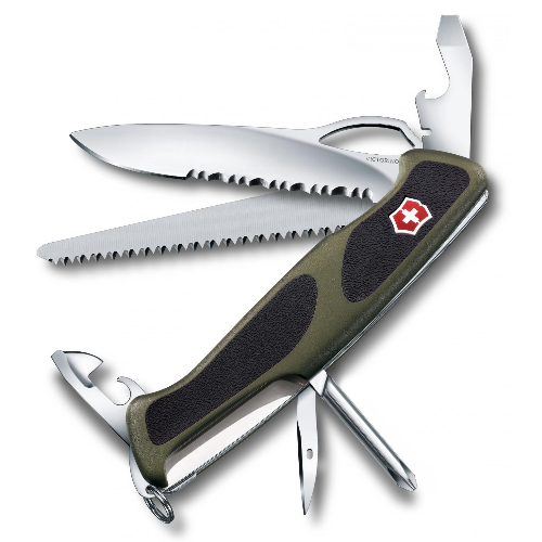 "0.9663.MWC4 Нож перочинный Victorinox Delemont ""RangerGrip 178"" 130 мм 12 функций зелено-чёрный"