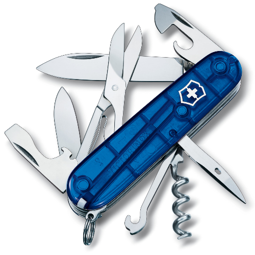 1.3703.T2 Офицерский нож Victorinox Climber 91 мм 14 функций полупрозрачный синий
